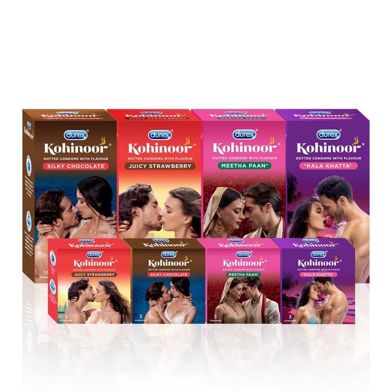 Durex Kohinoor Dotted Juicy Strawberry Condoms Pack Of 10