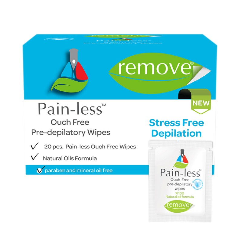 Remove Pain-Less Pre Deplitory Waxing Wipes 20 Pieces