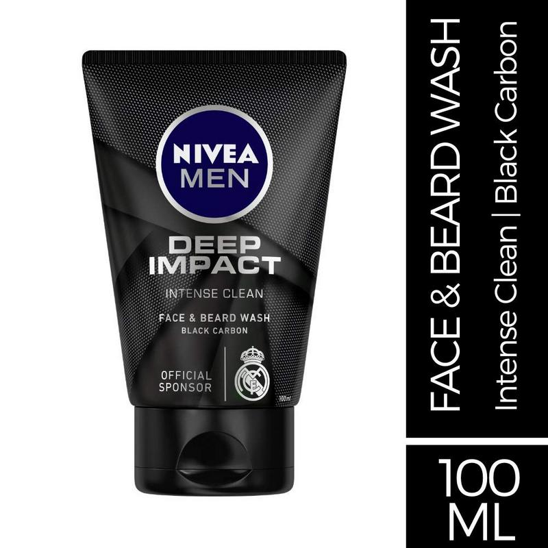 Nivea Men Deep Impact Intense Clean Face & Beard Wash Black Carbon 100ml