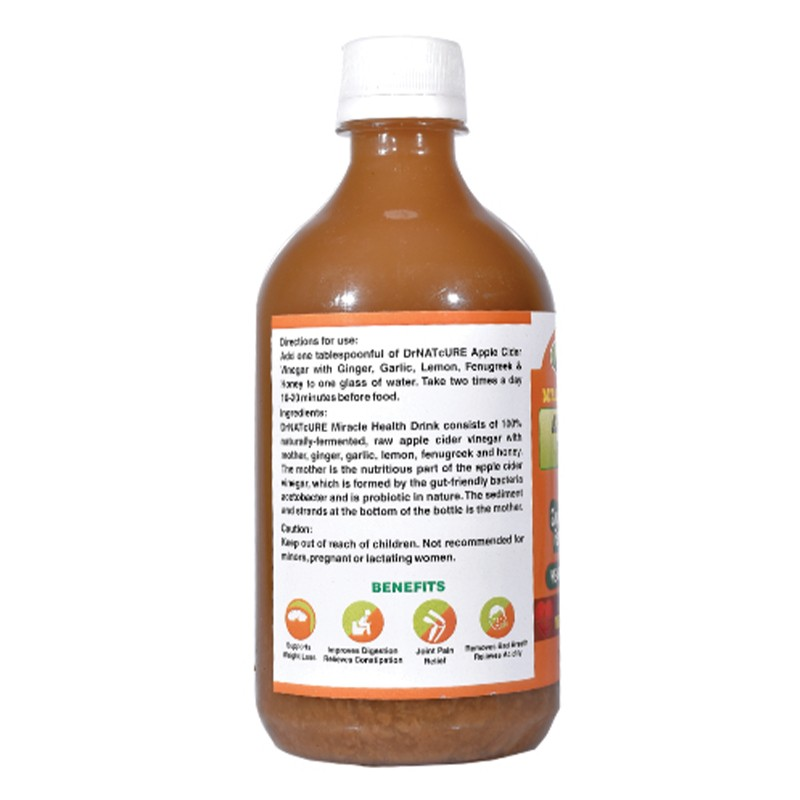 Dr Natcure Apple Cider Vinegar With Ginger, Garlic, Lemon, Fenugreek & Honey 500ml