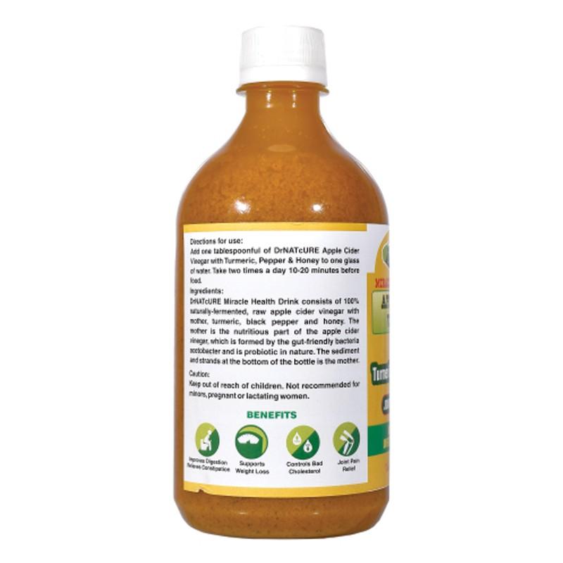 Dr Natcure Apple Cider Vinegar With Turmeric, Pepper & Honey 500ml