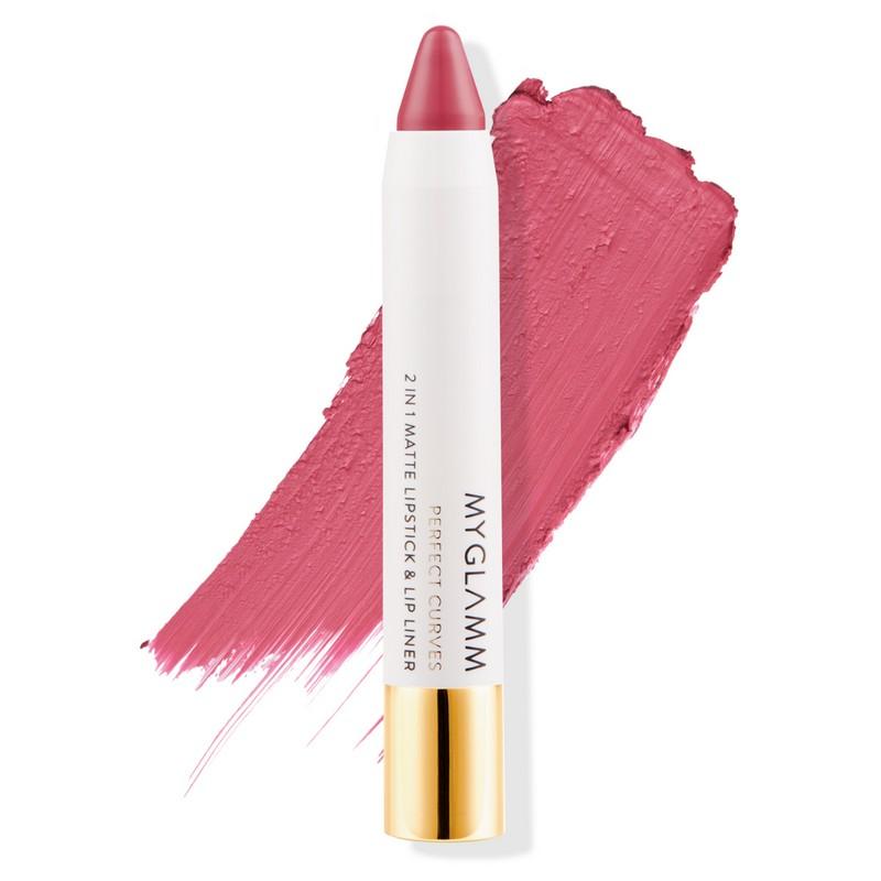 MyGlamm Perfect Curves 2-In-1 Matte Lipstick & Lip Liner Debutante