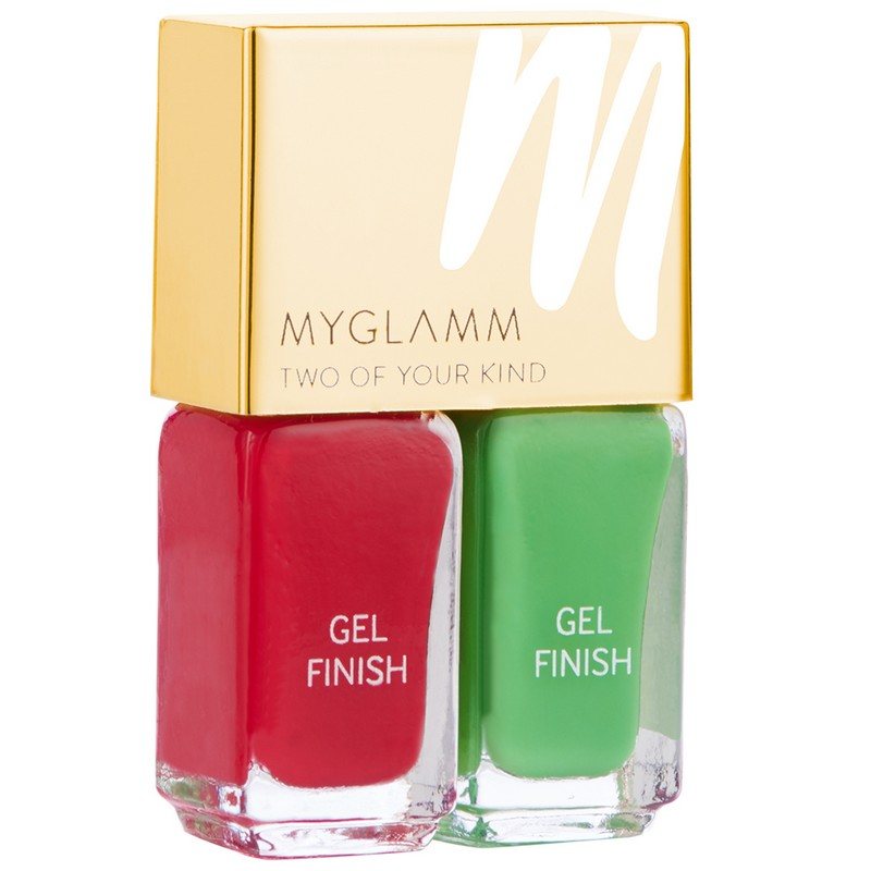 MyGlamm Two Of Your Kind Gel Finish Duo Nail Polish Scarlet