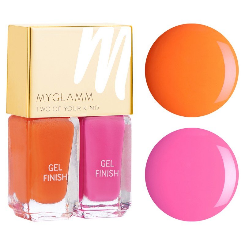 MyGlamm Two Of Your Kind Gel Finish Duo Nail Polish Tangerine Dream