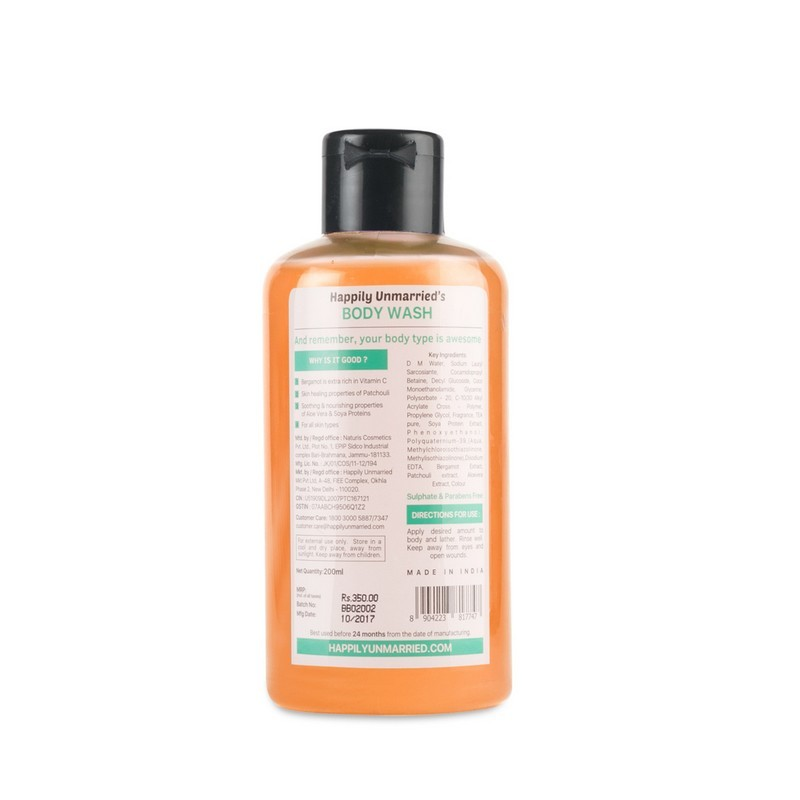 Happily Unmarried Never Be Ashamed Of Your Body Wash Bergamot Patchouli 200ml