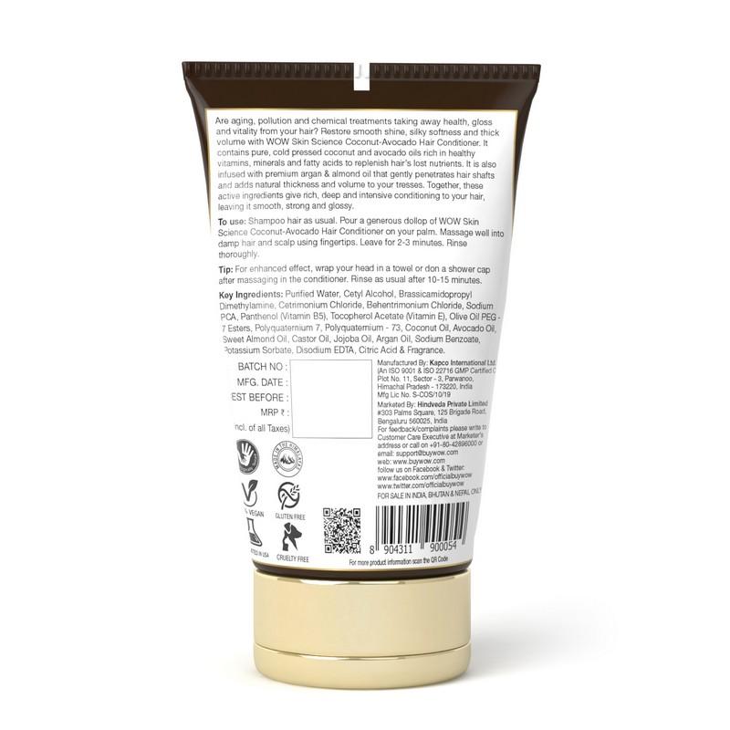 WOW Skin Science Organic Virgin Coconut + avocado oil Hair Conditioner 150ml