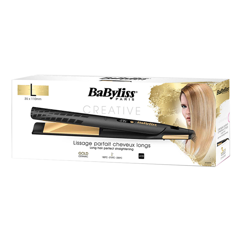 Babyliss LCD 3-Temperature 35MM Gold Straightener ST430E