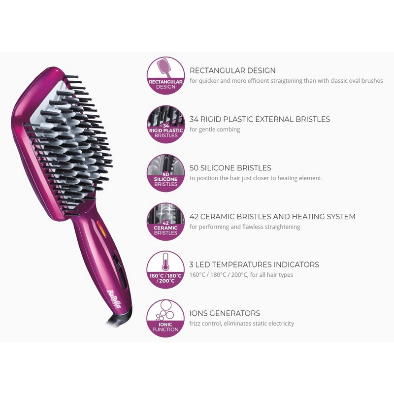 Babyliss Heated Smoothing Liss Brush 3D Hair Styler HSB100E