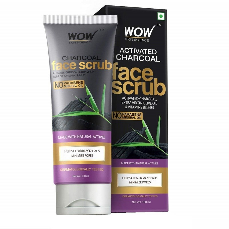 WOW Skin Science Activated Charcoal Face Scrub 100ml