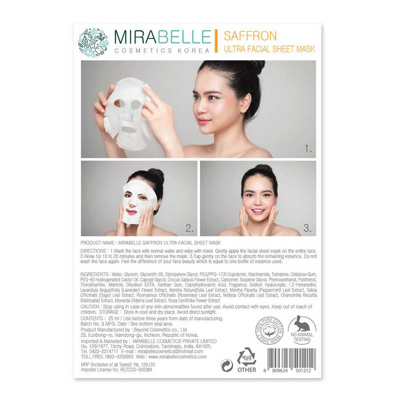 Mirabelle Korea Ultra Sheet Mask Saffron