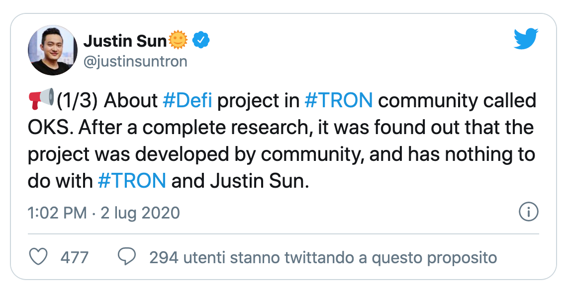 Why Justin Sun took distance from Oikos?