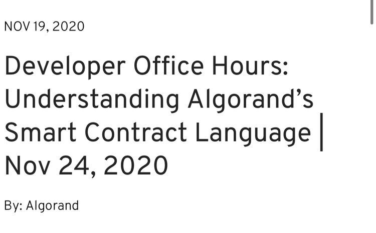 DEVELOPERS OFFICE HOURS @Algorand