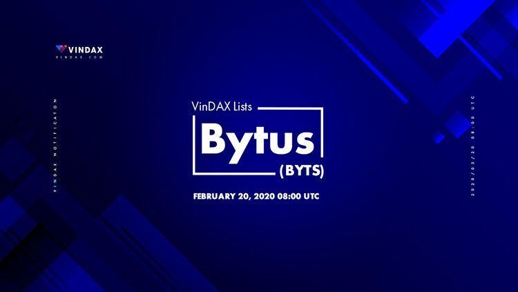 Bytus has been listed on VinDax Exchange