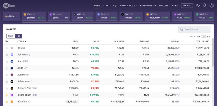 Screenshot of markets available for trade in Bitbns