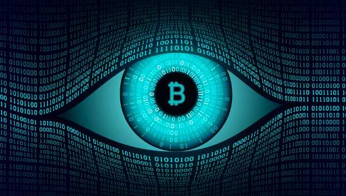 "Bitcoin symbol in the middle of an open eye in a ""binary number stream"" Matrix-style pattern"