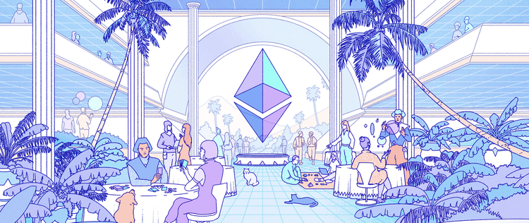 Ethereum symbol in the middle of a dining area while people discuss