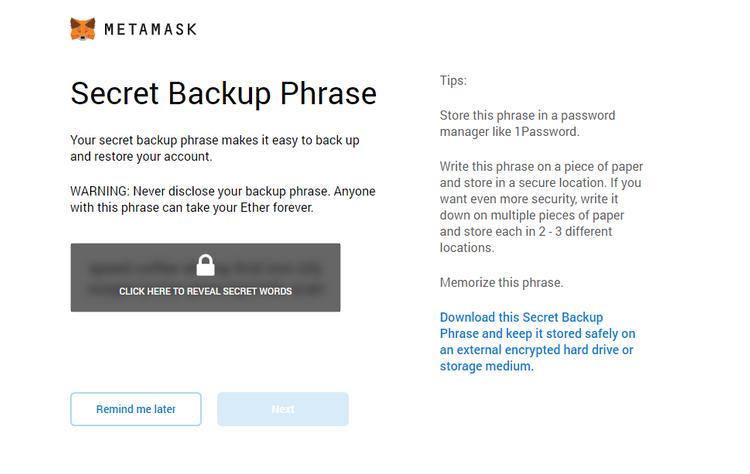 """Secret Backup Phrase"" screenshot from MetaMask app"