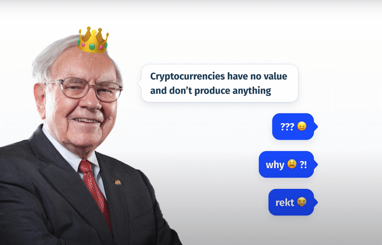 """""""pre-DeFi era"""": """"Warren Buffett"""" the """"King of Fundamentals"""" with maybe a crown, saying """"Cryptocurrencies have no value and don't produce anything"""" and """"??? 😖"""", """"why 😫 ?!"""", """"rekt 😭"""" reactions next to it"""