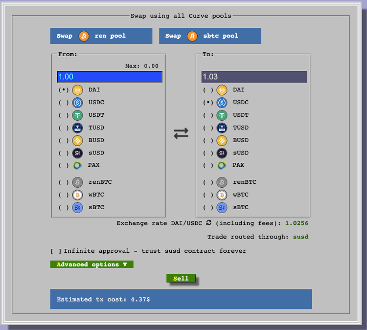 Screenshot of Curve swapping interface