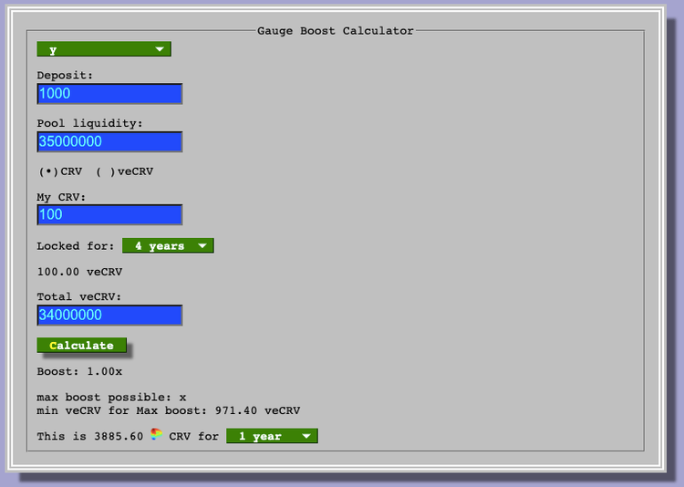Screenshot of calculator for veCRV tokens