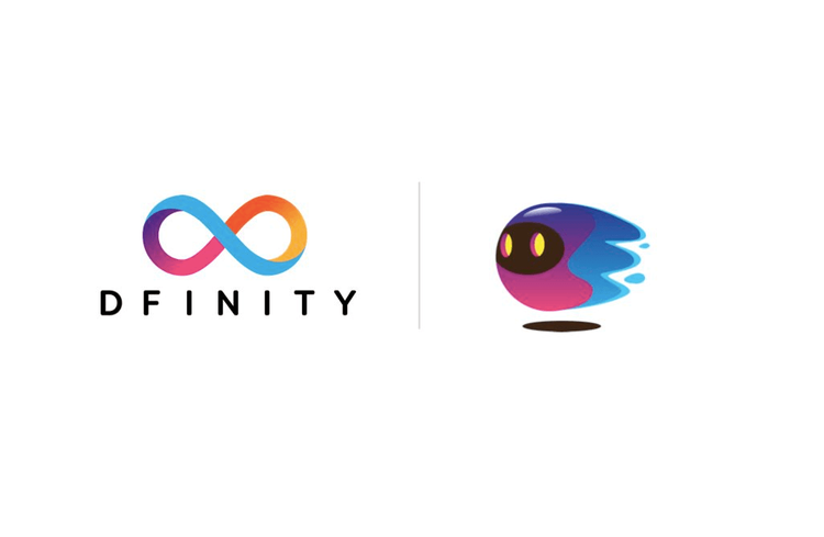 Dfinity logo and Motoko mascot