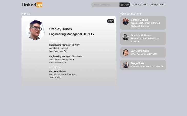 "screenshot of ""LinkedUp"" demo"