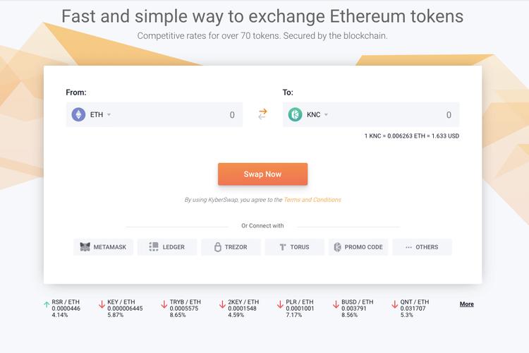 Screenshot of KyberSwap web app