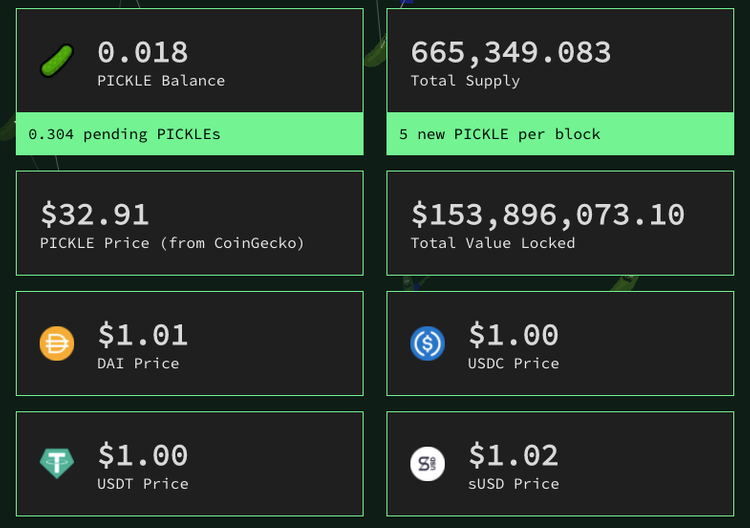 "Screenshot of Pickle Finance ""home"""