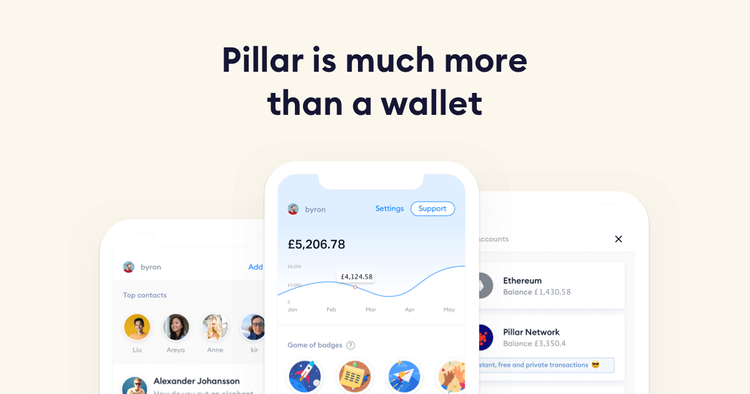 """Pillar is much more than a wallet"" banner with app screenshots"