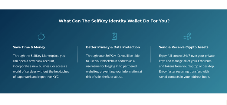 Banner with benefits of using SelfKey