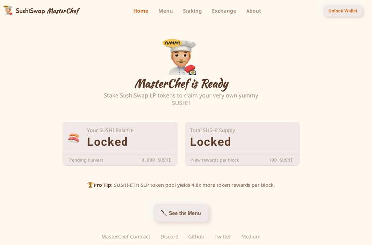 SushiSwap landing page screenshot