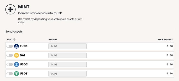 Mint dashboard in mStable app