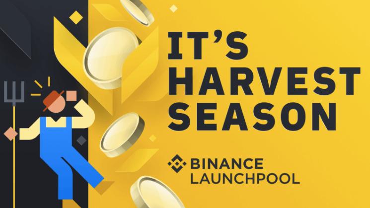 "Binance Launchpool banner saying ""it's harvest season"" with a farmer cartoon"