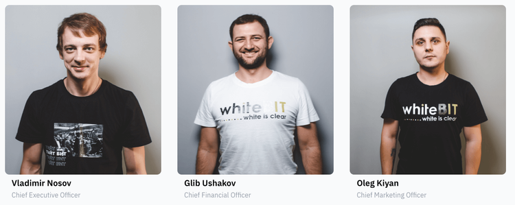 Photo gallery with WhiteBIt's cofounders: Vladimir Nosov, Glib Ushakov, and Oleg Kiyan