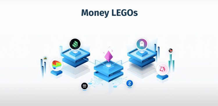 """Money LEGOs"" and the Ethereum diamond surrounded by LEGO-like blocks of different dimensions and colors with logos like ""Compound"", ""Aave"", ""Uniswap"", ""Curve"", ""yEarn"", ""Harvest"" and ""Sushi"""