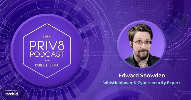 Promotional image of Edward Snowden on Priv8 Podcast<br>