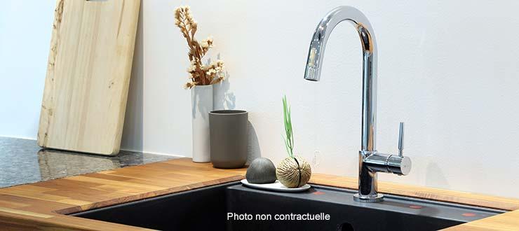 Fourniture et pose d'un robinet mitigeur d'évier bec haut Premium
