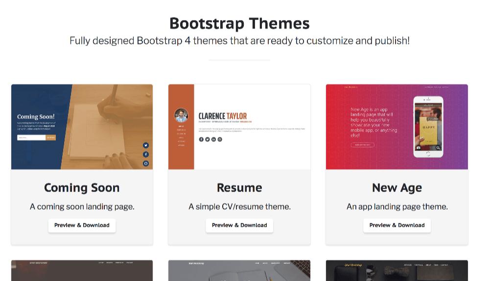 Bootstrap4向けの高品質な無料テンプレート300+