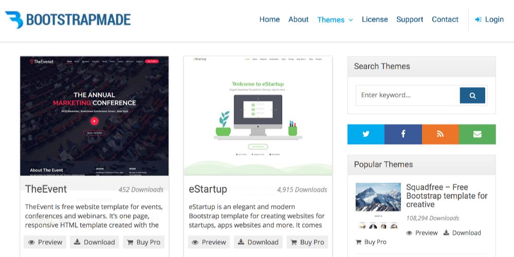 Bootstrap4の無料テンプレート BootstrapMade