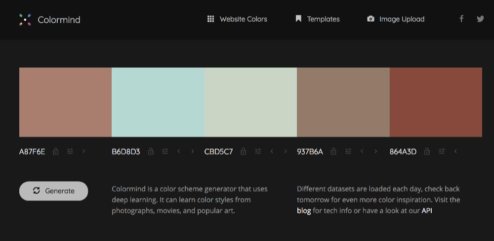 無料で使える配色パターンジェネレータ Colormind