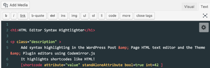 HTML Editor Syntax Highlighter