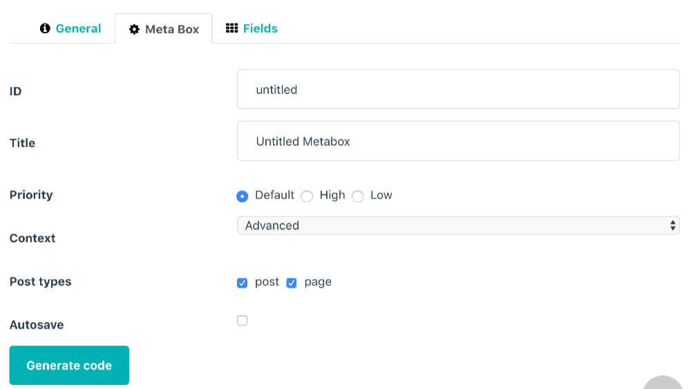 Wordpress MetaBox オンラインエディターでカスタムフィールドを作成2