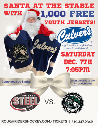 Santa at the Stable RoughRiders Free Jersey Giveaway