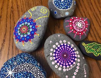 Search rock mandala painting
