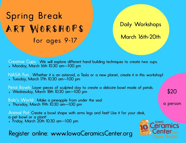 Spring Break Daily Art Workshops at ICCGS!