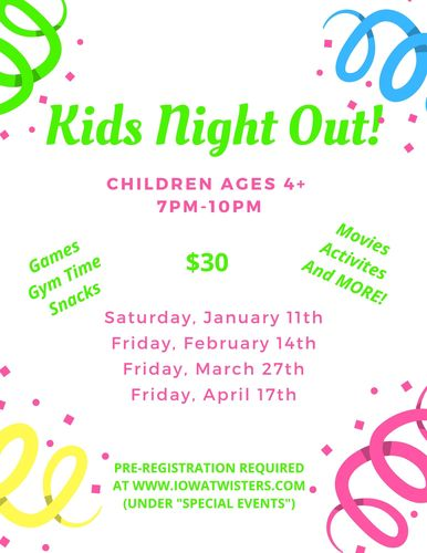 Kids Night Out at Twisters Gymnastics!