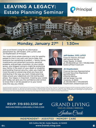 Leaving A Legacy: Estate Planning Seminar at Grand Living at Indian Creek