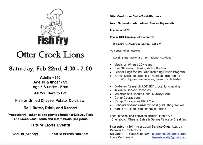 Otter Creek Lions Club Feb 22 Fish Fry