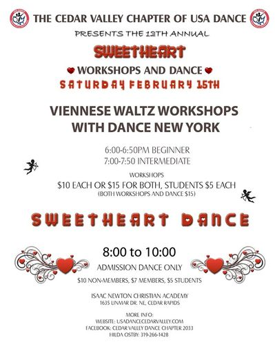 Sweetheart Workshops and Dance - USA Dance Cedar Valley Chapter