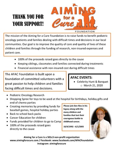 Aiming For A Cure Foundation Celebrity Hunt & Fundraiser Banquet